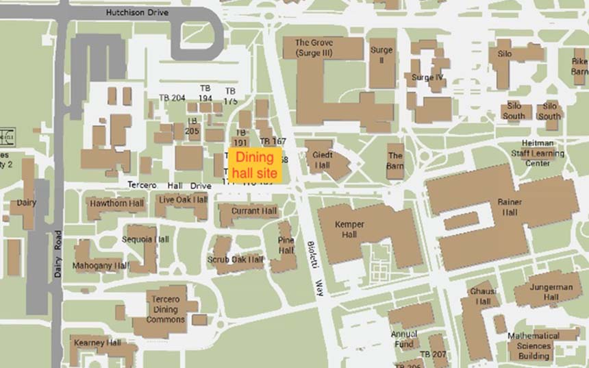 A map showing the site of the new dining hall west of Giedt Hall
